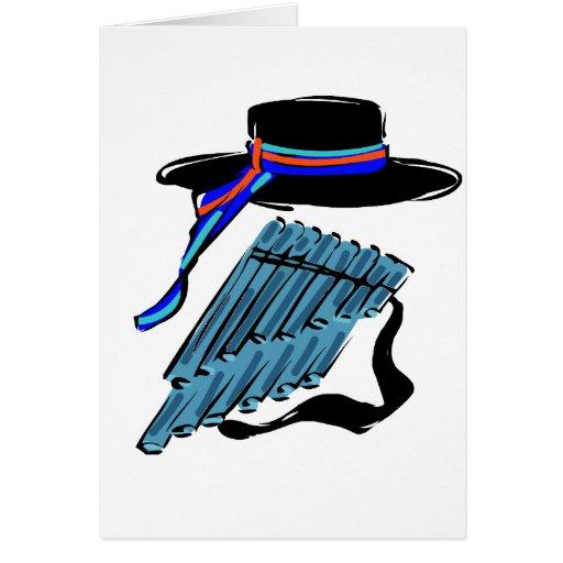 música azul design.png de la cinta de la flauta de tarjeta pequeña