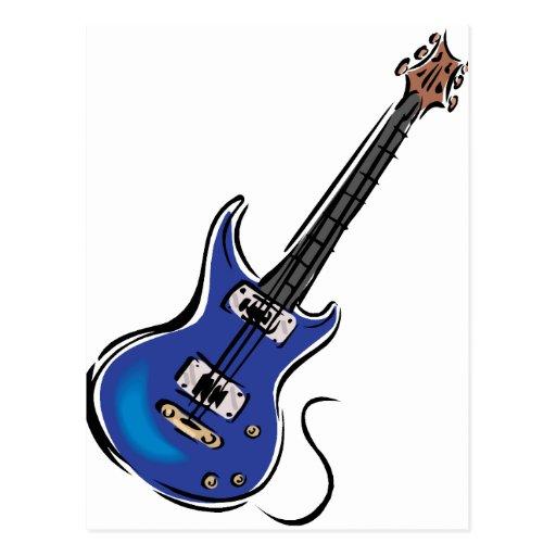 música azul graphic.png de la guitarra eléctrica tarjeta postal