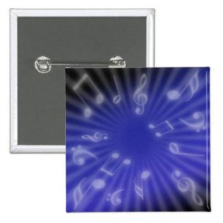 Música azul pin cuadrada 5 cm