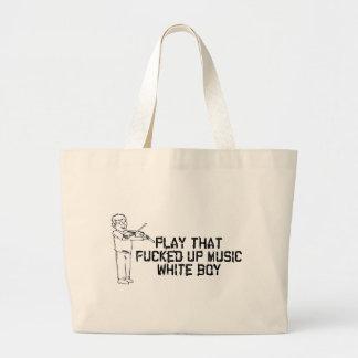 Música blanca del muchacho bolsa tela grande