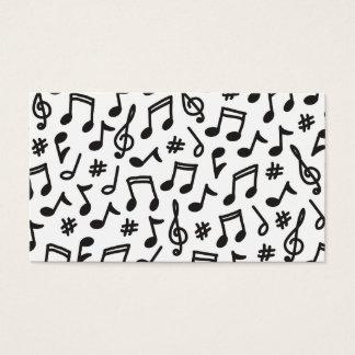 Música blanco y negro del modelo de la nota tarjeta de negocios