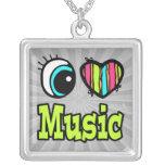 Música brillante del amor del corazón I del ojo Pendientes