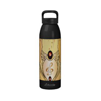 Música, clef botella de agua reutilizable