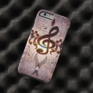 Música, Clef con diseño floral elegante Funda De iPhone 6 Tough