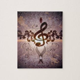 Música, Clef con diseño floral elegante Puzzle Con Fotos