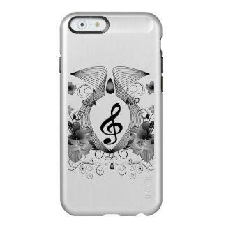 Música, clef con las flores funda para iPhone 6 plus incipio feather shine