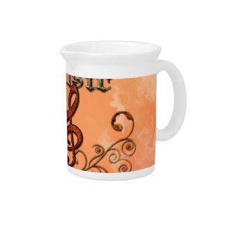 Música, clef con los elementos florales jarron