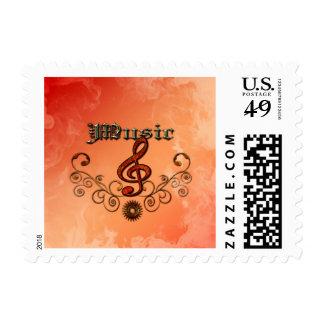 Música, clef con los elementos florales sellos