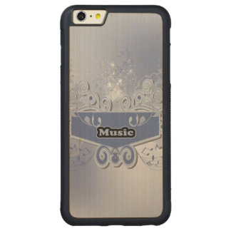 Música, clef con notas tónicas y efectos del funda de arce bumper carved® para iPhone 6 plus