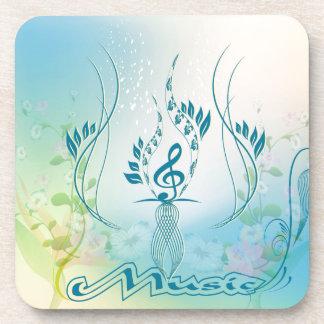 Música, clef y elementos florales posavaso