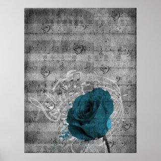 Música color de rosa azul antigua hermosa de la sa póster