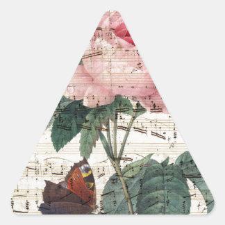 Música color de rosa pegatina triangular