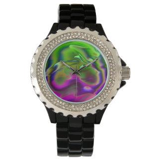 música coloreada, rosa verde reloj de mano
