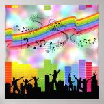 Música colorida del fiesta impresiones
