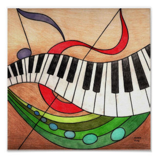 Música colorida póster