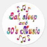 Música coma, del sueño y de los años 80 pegatina redonda
