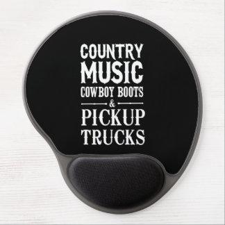 Música country, botas de vaquero y camionetas alfombrillas con gel