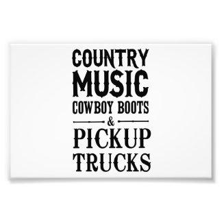 Música country, botas de vaquero y camionetas fotografías