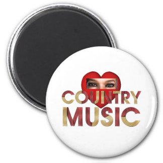 Música country del amor de la CAMISETA I Imán Redondo 5 Cm