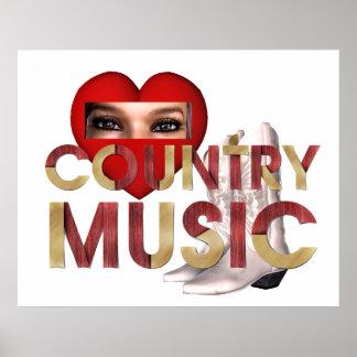 Música country del amor de la CAMISETA I Póster