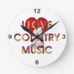 Música country del amor de la CAMISETA I Reloj Redondo Mediano