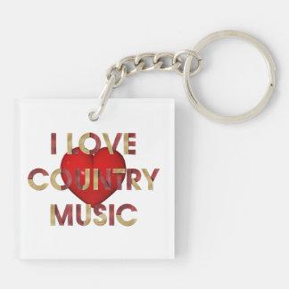 Música country del amor del ojo de la CAMISETA Llavero Cuadrado Acrílico A Doble Cara
