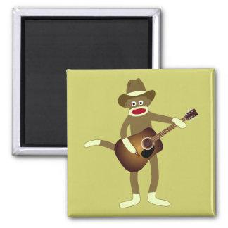 Música country del mono del calcetín imán cuadrado