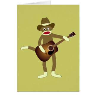 Música country del mono del calcetín tarjeta de felicitación