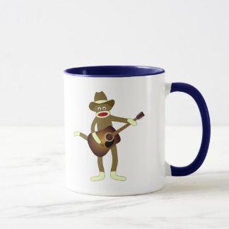 Música country del mono del calcetín taza