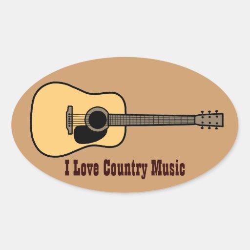 Música country pegatina ovalada