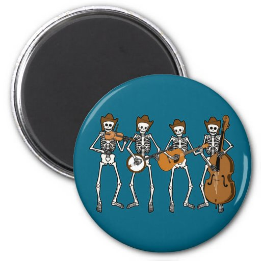 Música country que juega los esqueletos imán redondo 5 cm