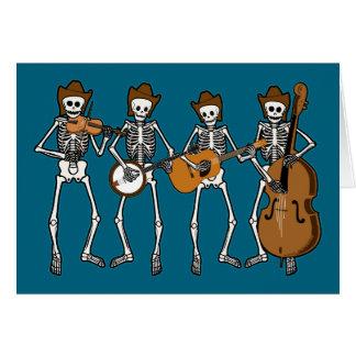 Música country que juega los esqueletos tarjeta de felicitación