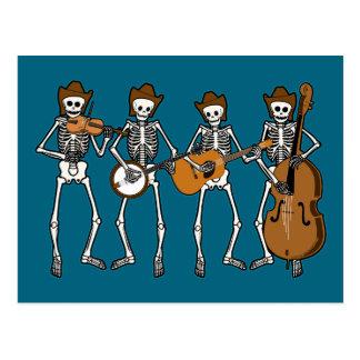 Música country que juega los esqueletos tarjeta postal