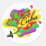 Música cubana pegatina redonda