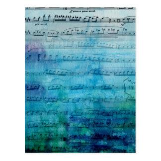 Música de fondo azul tarjeta postal