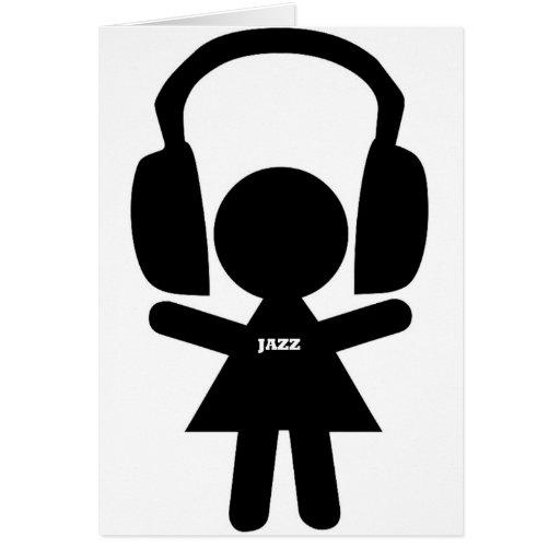Música de jazz de los auriculares tarjetón