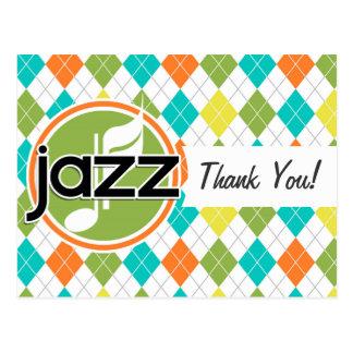 Música de jazz; Modelo colorido de Argyle Tarjeta Postal