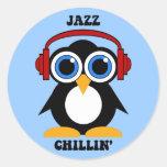 música de jazz pegatinas redondas