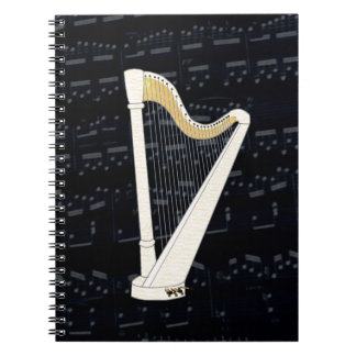 Música de la arpa del pedal libro de apuntes con espiral