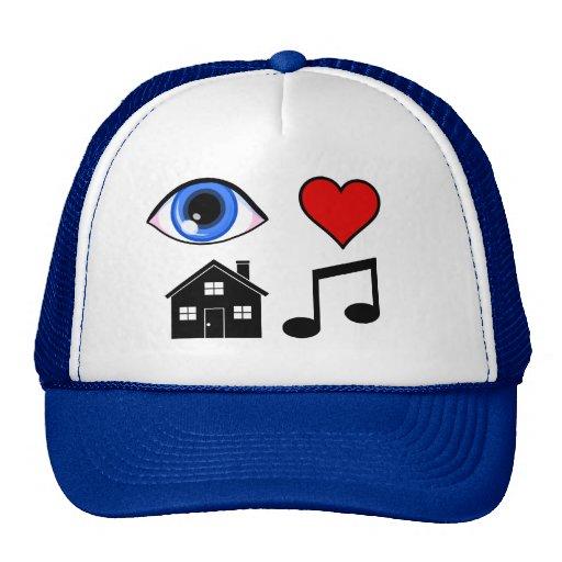 Música de la casa del amor del ojo gorros bordados