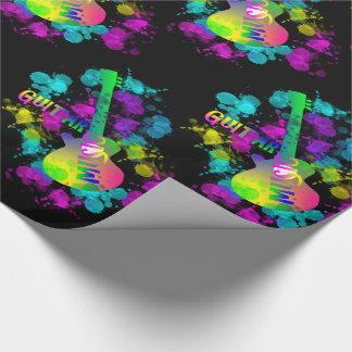 Música de la guitarra del arco iris temática papel de regalo