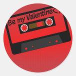 Música de la tarjeta del día de San Valentín Pegatina Redonda