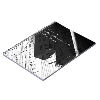 Música de la vida: Llaves y notas del piano Spiral Notebooks