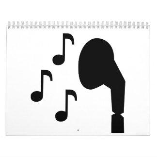 Música de las notas de los auriculares calendario