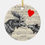 """Música de los alces """"el sonido corazón cariñoso de adorno redondo de cerámica"""