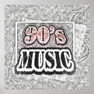 Música de los años 90 del vintage - poster