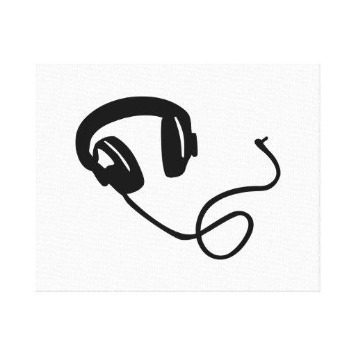 Música de los auriculares lienzo envuelto para galerias