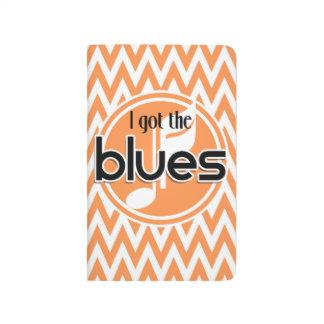 Música de los azules; Chevron anaranjado y blanco Cuaderno