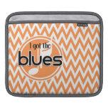 Música de los azules; Chevron anaranjado y blanco Fundas Para iPads