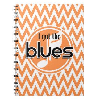 Música de los azules; Chevron anaranjado y blanco Libreta Espiral